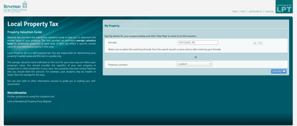 Screenshot of Revenues Local Property Tax online calculator with details of a property entered.